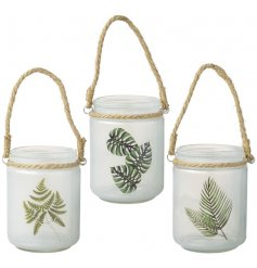 This chic assortment of hanging glass pots will add a greenery inspired touch to any space of your home