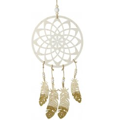 A chic white wooden dream catcher, a perfect accessory to any contemporary home space