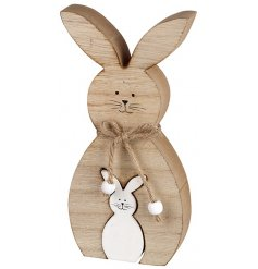 This sweet little wooden rabbit decoration will add an adorable touch to any spring display this easter
