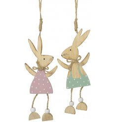 This adorable little duo of hanging wooden bunnies will add an easter charm to any Spring inspired display