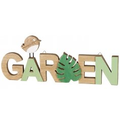 A natural toned wooden garden plaque with an added hint of green