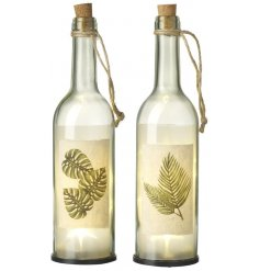Add a greenery inspired tone to your home with these chic assorted LED bottles