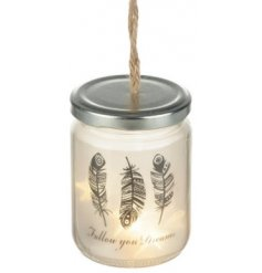 Bring a beautiful cozy glow to your home interior with this sweetly hanging glass jar
