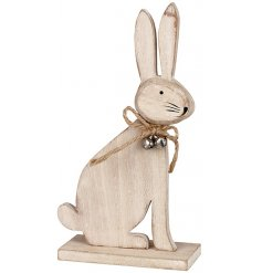 This friendly little wooden bunny decoration will add a Spring inspired touch to any display