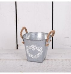 A Small Zinc White Washed Heart Bucket