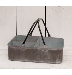 This zinc metal tray with a distressed edge will add a rustic touch to any garden display