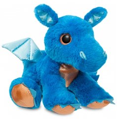An electric blue snuggly dragon soft toy