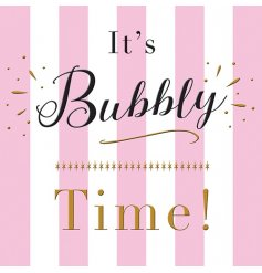 A pink and white bubbly time celebration card