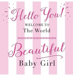 A pink striped Beautiful Baby Girl Card