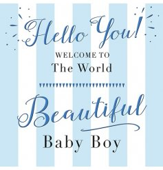 A Beautiful Baby Boy Blue and White stripy Card