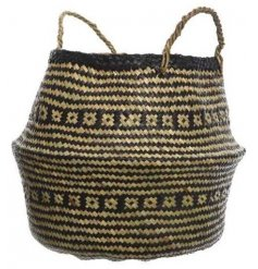 A tribal pattern inspired woven basket