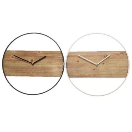Iron and Wood Clock, 2 Assorted