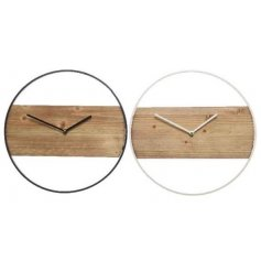 An assortment of 2 minimal design clocks made from wood and iron