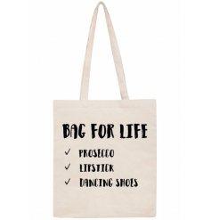 Long handled prosecco slogan bag 42cm