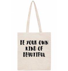 Natural cotton slogan bag w text 42cm