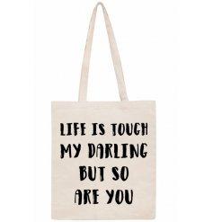 Cotton slogan bag