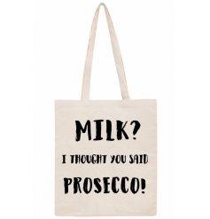 Long handled prosecco slogan bag