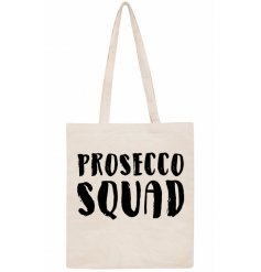 Long handled prosecco squad bag  w text