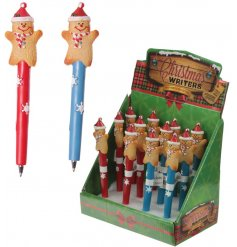 An assortment of 2 Christmas Gingerbread Man Pens
