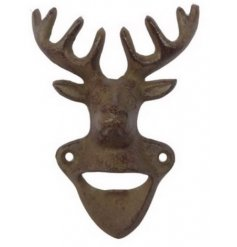 A rustic and distressed finished cast iron bottle opener,