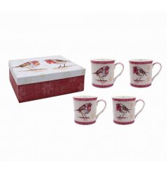 A beautiful set of 4 tartan printed Robin themed mugs