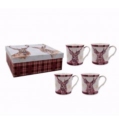 A beautiful set of 4 tartan printed Reindeer themed mugs