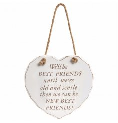 A chic and humorous heart plaque with a chunky rope hanger.