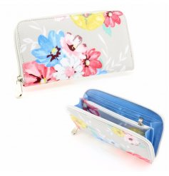 Blossom Floral Wallet  A beautifully chic floral patterned zip up purse