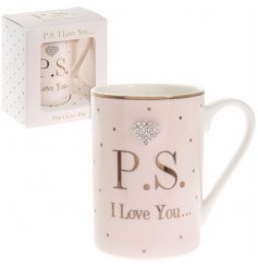A dotty mug featuring crystal heart & P.S. I love you text