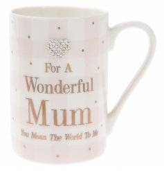 "Add a sentimental touch to any gift for your mum with this beautifully finished ""Wonderful Mum"" pink blush fine china m"