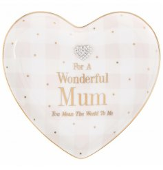 "Add a sentimental touch to any gift for your mum with this beautifully finished ""Wonderful Mum"" pink blush hanging heart"