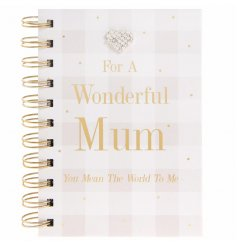 "Add a sentimental touch to any gift for your mother with this beautifully finished ""Wonderful Mum"" pink blush notebook"
