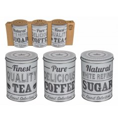 Tea, Sugar, Coffee Tins  Add a chic grey tone to your kitchen space with this stylish set of kitchen canisters