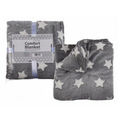 Grey Comfort Blanket With White Stars 160cm