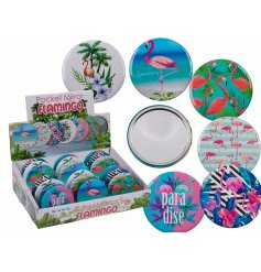A fun Flamingo themed pocket mirror, with an additional assortment of paradise themed designs