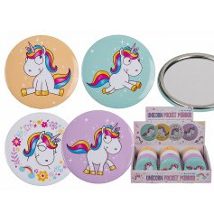 A bright and colourful assortment of unicorn themed pocket mirrors