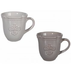 Country Style Stoneware Mugs, 2ass   A chic assortment of dark and light grey toned drinking mugs