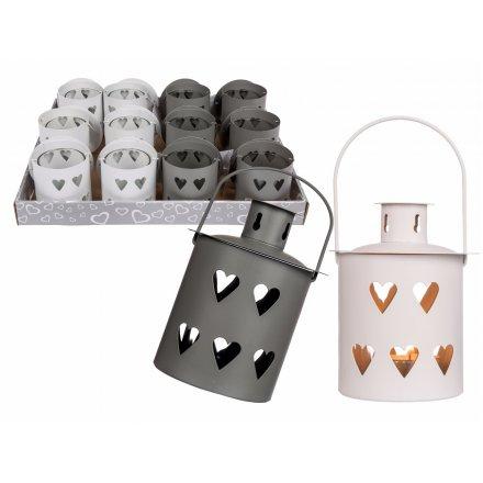 Metal Grey and White Tlight Lanterns Mix 12cm