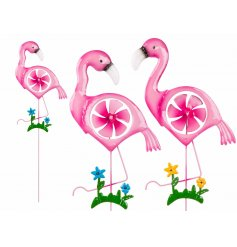 Standing Flamingo Garden Decoration   Bring a funky flamingo look to your garden with these fun windmill garden figures