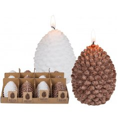 A chic woodland inspired assortment of wax candles in a pinecone design