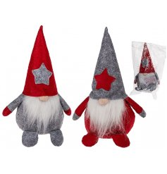 An adorable duo of grey and red themed sitting christmas gonks