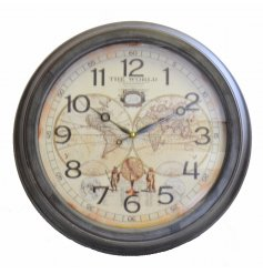 A vintage inspired wooden wall clock, completed with an olden era inspired map for the face