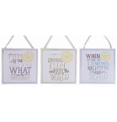 Bring a fun Gin inspired tone to your home with these assorted wooden plaques,