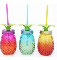 Add a funky tropical touch to any cocktail session with these assorted drinking jars
