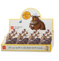 A soft to the touch baby rattle ring, in a fun and popular Gruffalo look