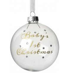 Add a sweet and chic touch to any new parents christmas tree with this clear glass bauble