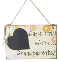 Colourful chalkboard with grandparents countdown