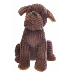 Add a sweet and simple feature to your home spaces with this soft to the touch sitting dog doorstop