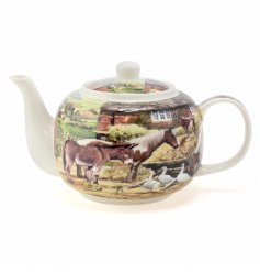 a teapot featuring country life scene