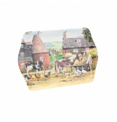 A small tray with country life scene